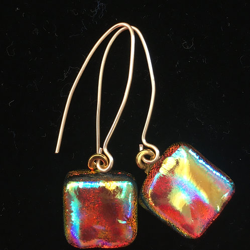 Cranberry and Gold Dichro Square Earrings