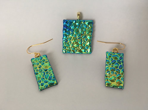 Teal/Green/Gold Dewdrop Dichroic Glass Earrings and Pendant set