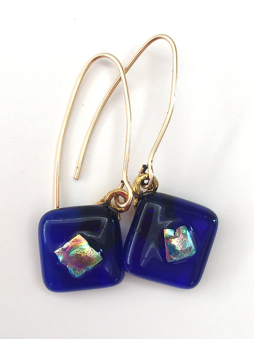 Carribean Blue with Dichro Accent Square Earrings