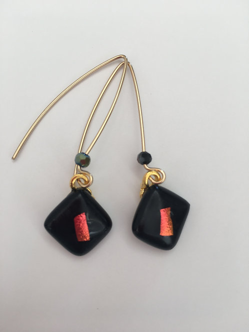 Black with Red Square drops