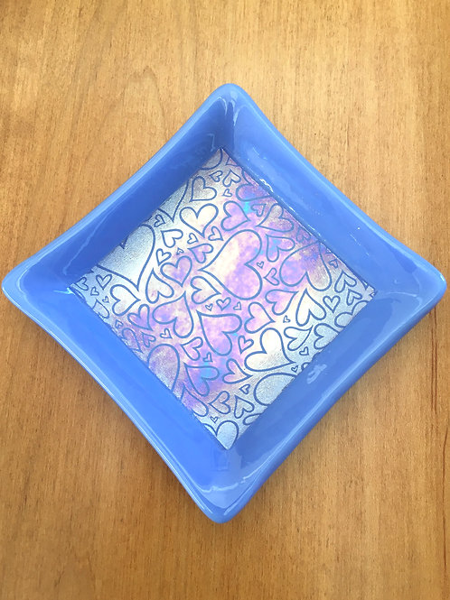 Romance is in the Air-Hearts Dish in Blue