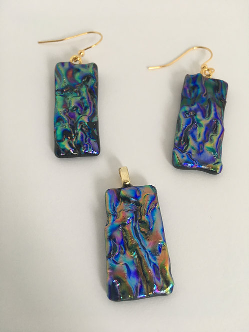 Purple Rainbow Herringbone earrings and pendant set