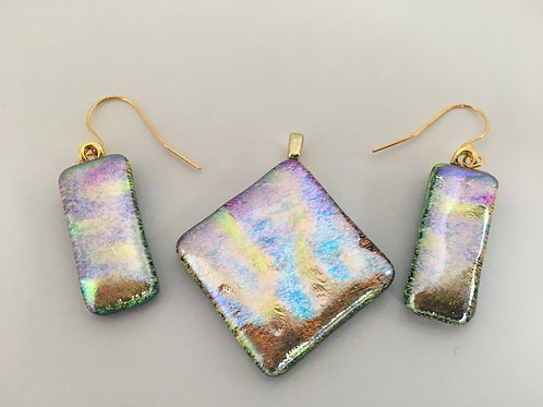 Double Dichroic Glass Pendant and Earrings--Rainbow with Gold accents