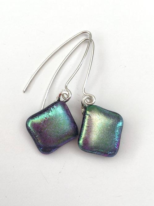 Green Aurora Borealis Dichro Pillow Earrings