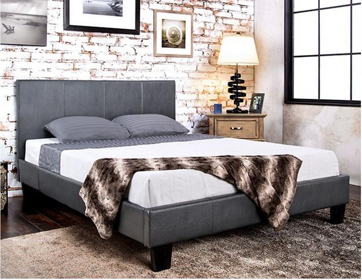 Winn Park Platform Bed Frame Leatherette Grey