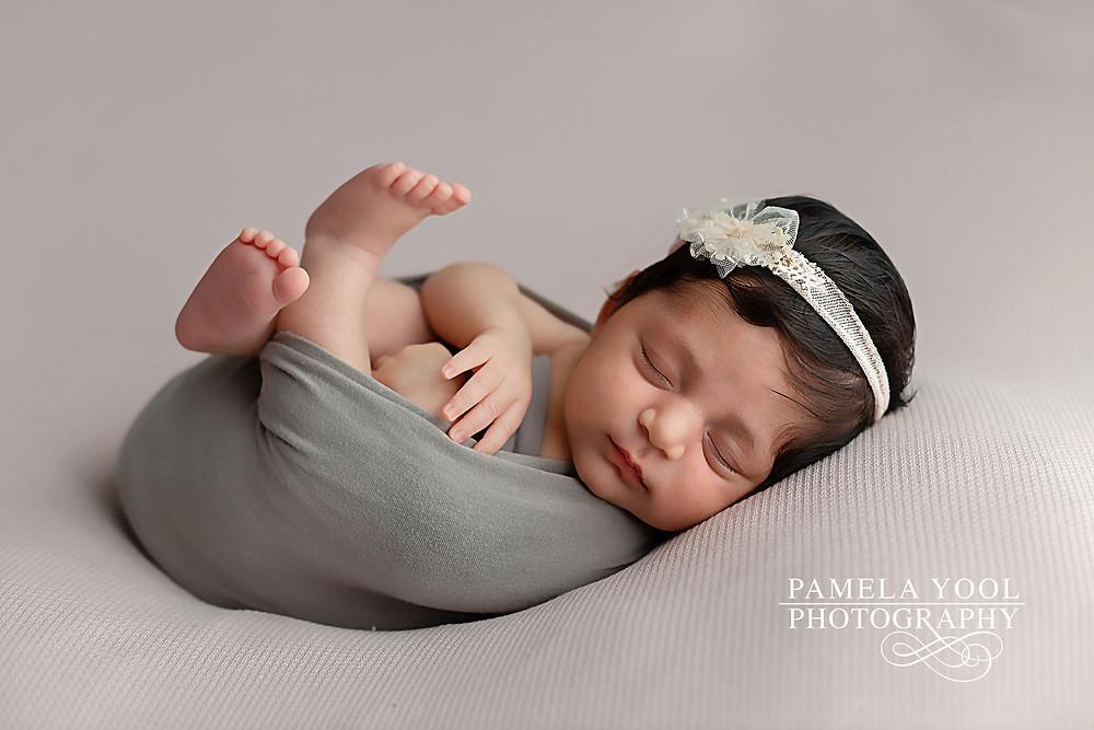 Peach and grey newborn Photography Toronto