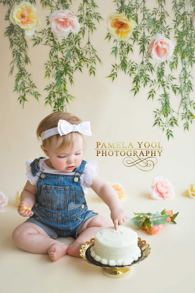 Floral First Birthday Cake Smash Photography Toronto