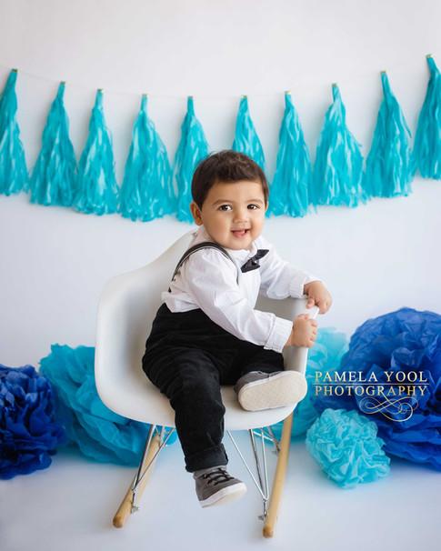 Little Boy First Birthday Photos in Toronto studio