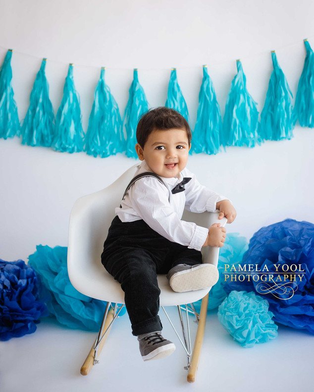 Little Boy First Birthday Photos in Toronto studio