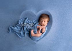 Newborn in Blue Heart Bowl