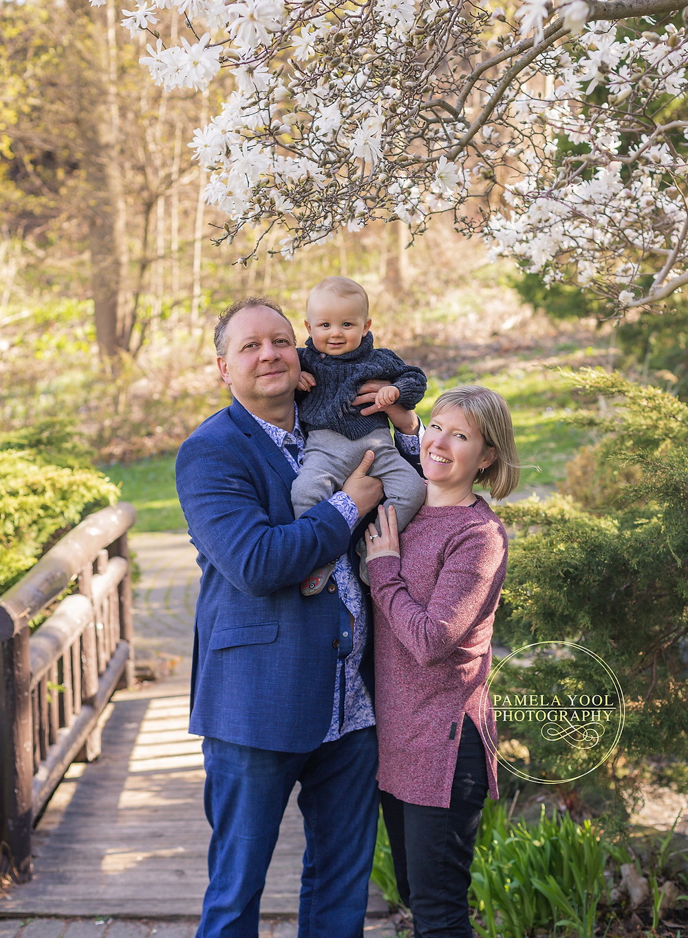 Outdoor Family Portraits in the Park Flowering Blossom Trees