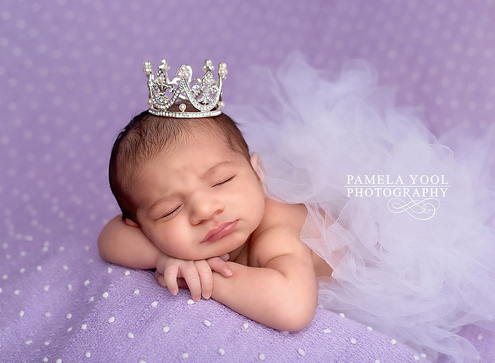 Newborn with Crown and Tutu on lavender