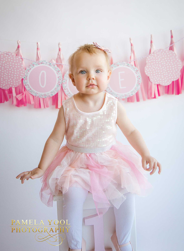 Pink and white First Birthday Photography Toronto Photo Studio