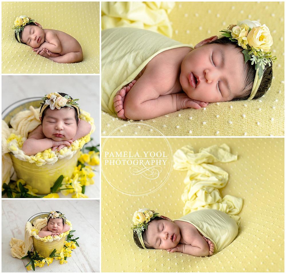 Toronto Newborn Photographer - Baby Julia in the studio wearing yellow