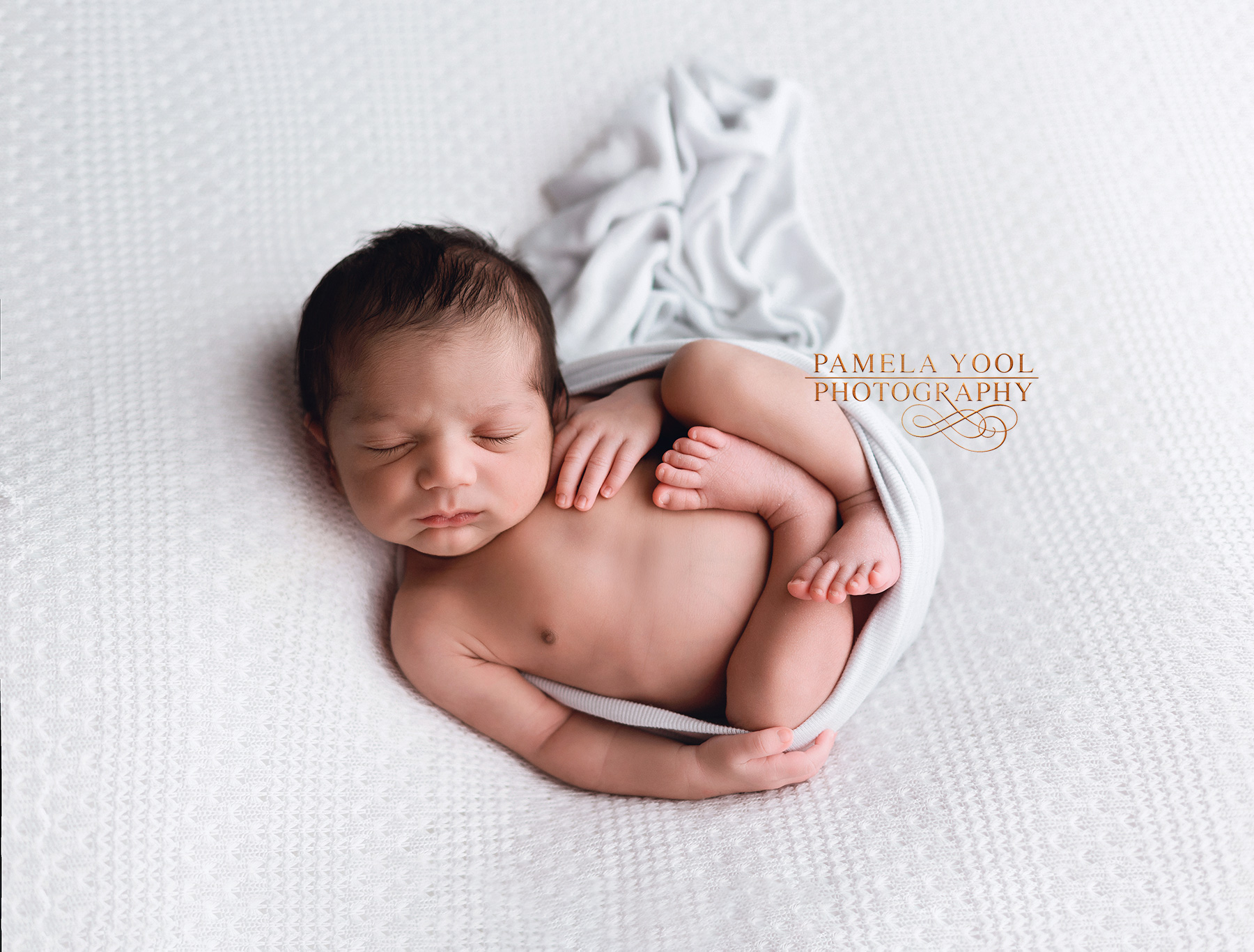 All White Newborn Baby Photo