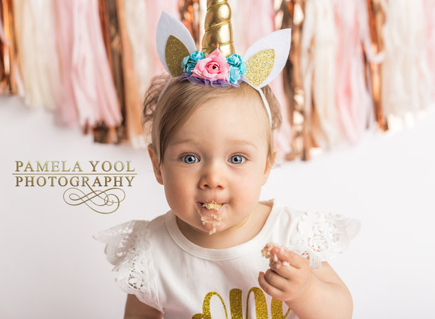 Unicorn First Birthday Cake Smash Portraits