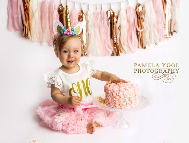 Unicorn First Birthday Cake Smash Portraits in Toronto Photo Studio