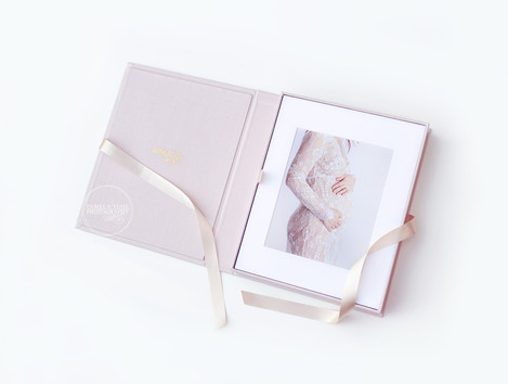 Pink Linen Presention Box with Silk Ribbon and Maternity Prints