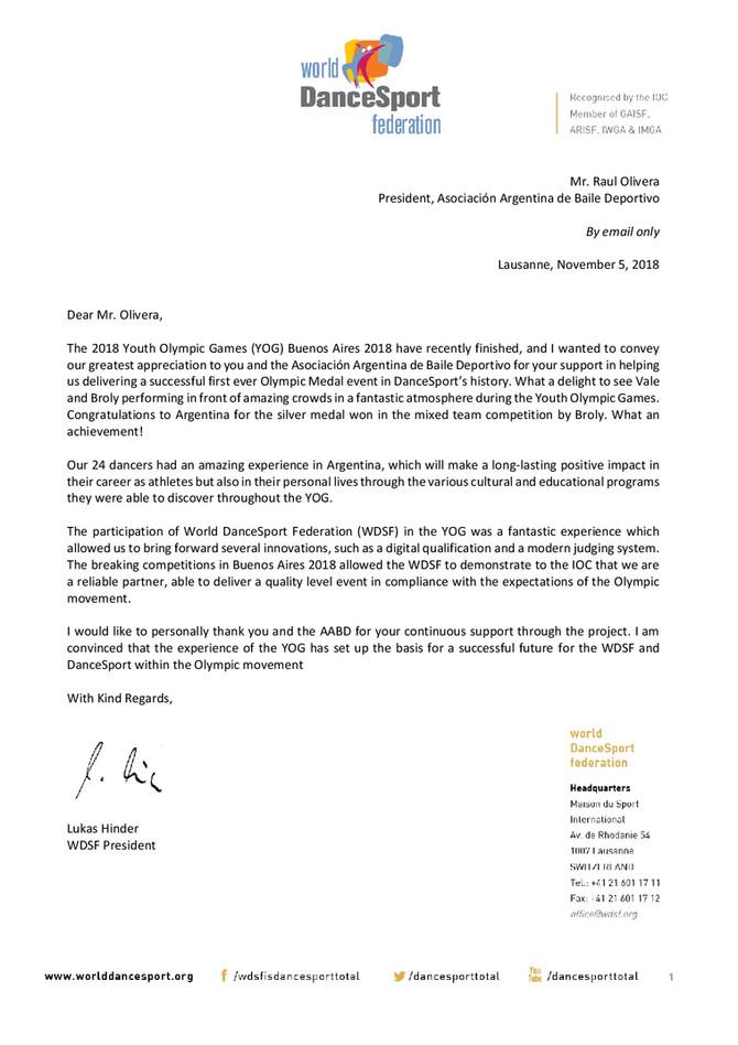 Thank you letter! - Carta de Agradecimiento - YOG 2018