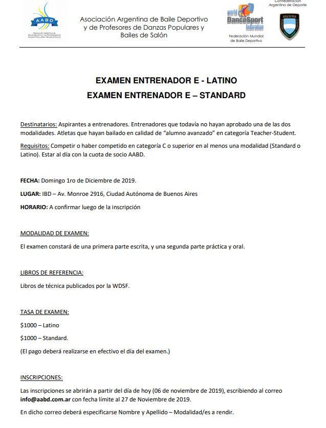 Convocatoria Examen E (International)
