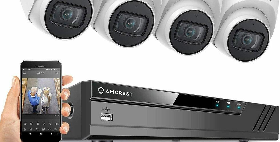 Amcrest 5MP Security Camera System 4K 8CH PoE NVR 4X 5MP 2.8mm lens Turret POE