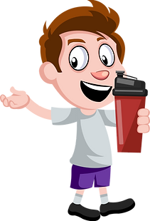 Boy with thermos isolated vector.png