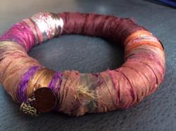 Recycled silk sari bracelet.