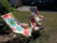 Our famous rocking hammock deckchairs, showing a three quarter size version for children.