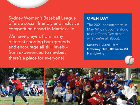 Play baseball in 2021! Come along to Open Day on Sunday April 11