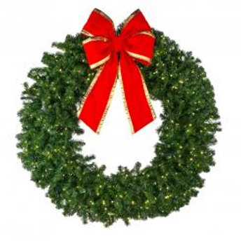 "48"" Deluxe Oregon Fir Wreath - Lit with Bow"