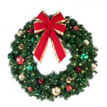 "48"" LED Wreath Decorated - Lit with Bow"