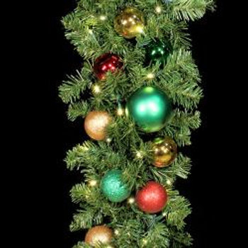 """9' x 14"""" Decorated Garland with LED Mini Lights"""