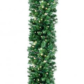 "9' x 14"" Deluxe Oregon Fir Garland - Lit"