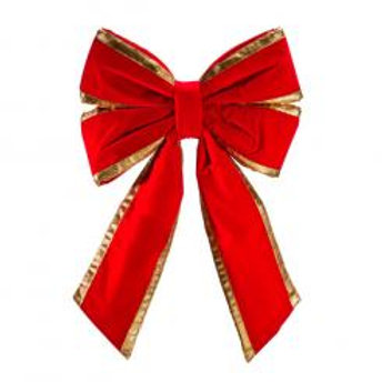 "24"" Red Velvet with Gold Trim Christmas Bow"