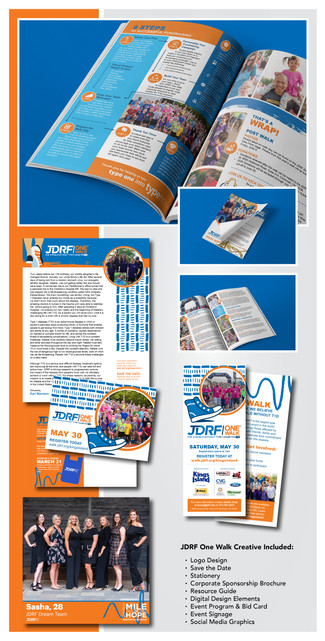 JDRF One Walk Kings Island  Project Guidelines: Create all marketing materials, both digital and print, for the JDRF One Walk Kings Island.  Competencies: – Layout & Composition – Print & Digital Design – Event Signage – Infographics – Social Media Graphics