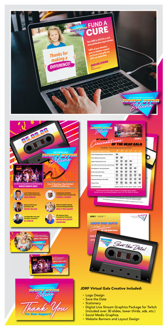 JDRF Virtual Gala  Project Guidelines: Brand the 2020 gala with an 80s theme, as well as create digital design elements for Twitch streaming service.  Competencies: – Logo Design – Layout & Composition – Print & Digital Design – Social Media Graphics