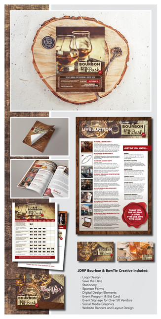 JDRF Bourbon & BowTie Bash  Project Guidelines:  Create all marketing collateral, both digital and print, for the JDRF Bourbon & BowTie Bash.  Competencies: – Layout & Composition – Print & Digital Design – Event Signage – Social Media Graphics