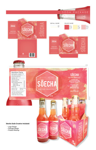 Soecha Package Design  Project Guidelines: Conceptualize new line of soda and create alogo, bottle label and packaging.   Competencies: – Logo Design  – Layout & Composition – Package Design