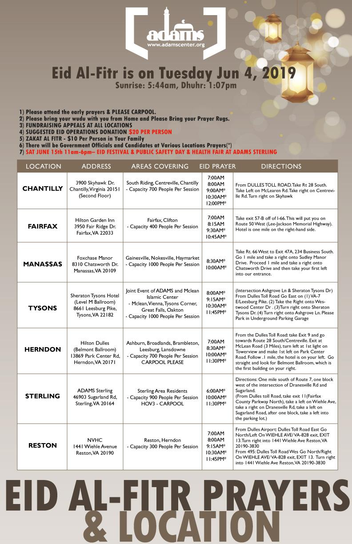 Eid Al-Fitr Prayer Times & Locations