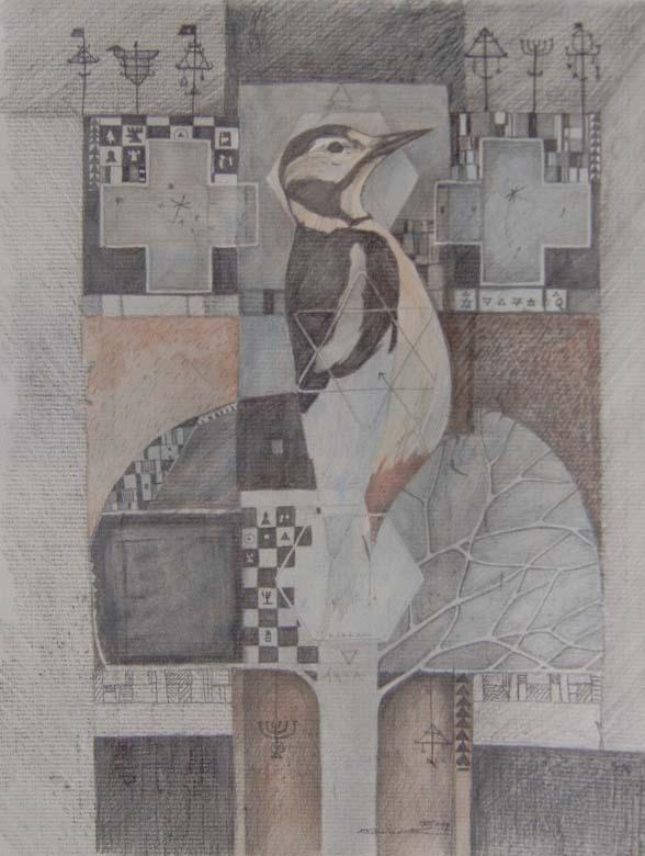 The Woodpecker 20 x 30cm Sold