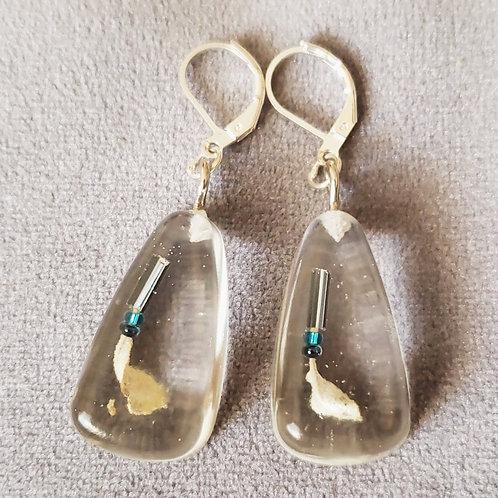 Beaded Sage Resin Drop Earrings