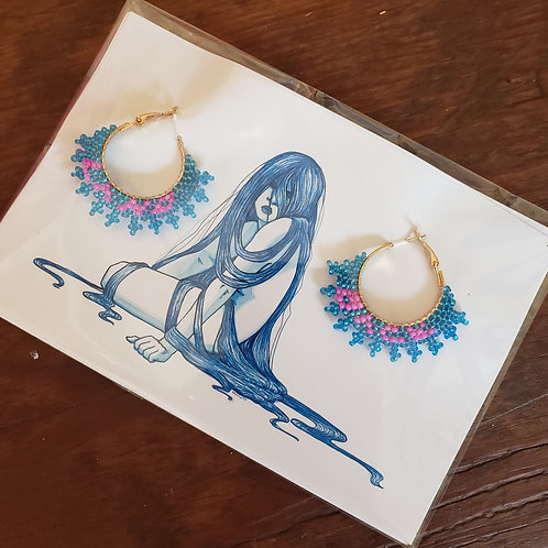 Land Back Sky-blue and Pink Small Hoops