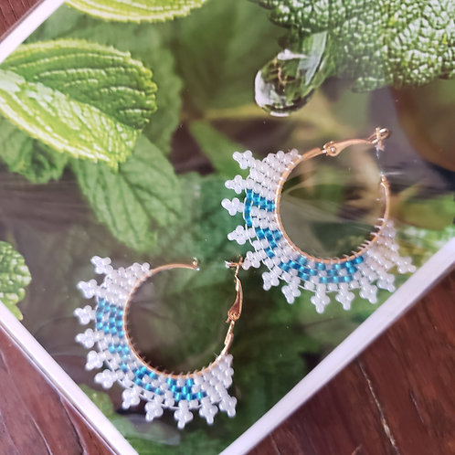 Land Back Pearl and Sky-blue Small Hoops