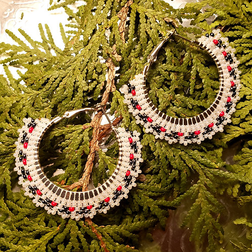 White/Black/Red Small Hoops