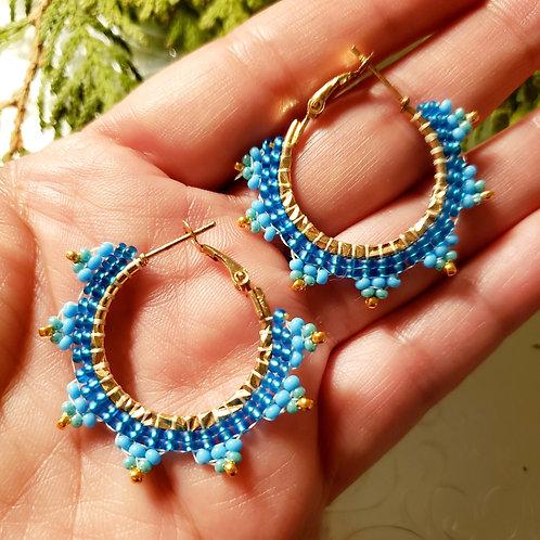 Blue Petal Tiny Hoops