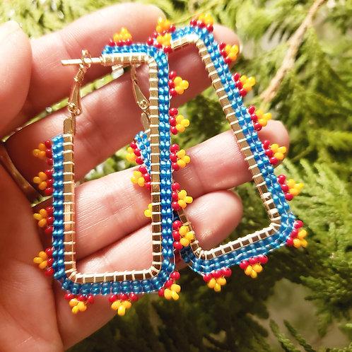 Firey Petal Rectangle Hoops