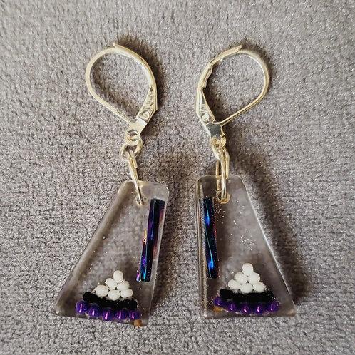 Beaded Little Triangles Resin Drop Earrings