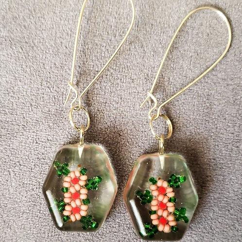 Cherry Blossom Resin Drop Earrings
