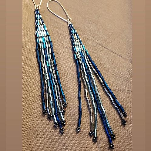 Blue  & Silver Beaded Long Earrings