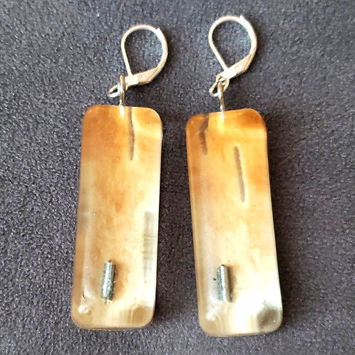 Beaded Birchbark Resin Earrings